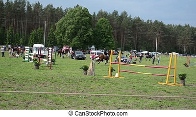 rider horse race - fast rider with horse run in horserace...