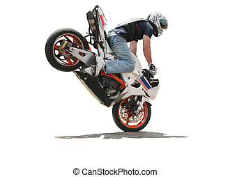 rider jump on motorcycle