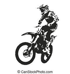 rider., motocross, wektor, sylwetka