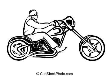 Rider on a chopper - Vector illustration : Rider on a...