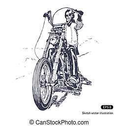 Rider on a chopper. Hand drawn vector isolated on white