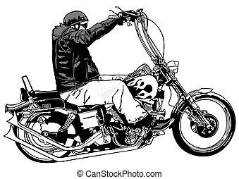 Rider On Chopper - Black and White Illustration, Vector