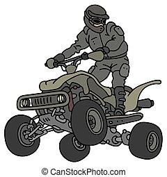 Rider on the military ATV