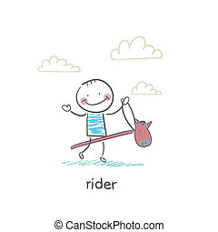 rider, på, en, hest, toy., illustration.