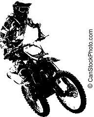 Rider participates motocross championship. Vector ...