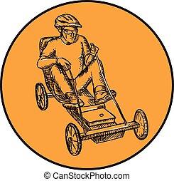 Rider Riding Soapbox Etching - Etching engraving handmade...
