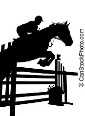 rider silhouette - Silhouette of horse and rider on a white ...