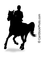 Silhouette of horse and rider on a white background