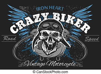 Rider skull with retro racer attributes. Grunge print. ...