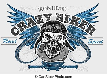 Rider skull with retro racer attributes. Grunge print. Vintage style. Vector art.