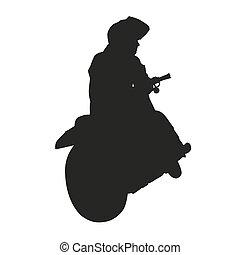 rider., vektor, árnykép, motorkerékpár