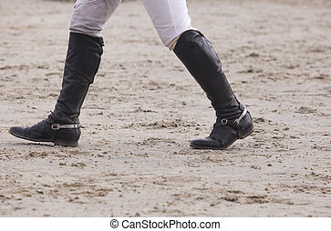 Rider walking a course