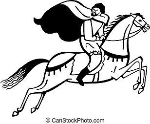 Rider Wearing His Raincoat Equestrian Dressage Cartoon