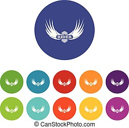 Rider wing icons set vector color