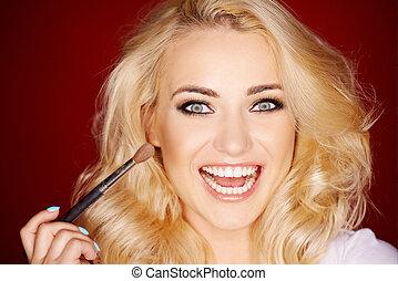 ridere, bella donna, applicare, blusher