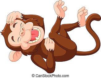 ridere, cartone animato, scimmia, divertente
