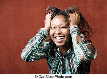 ridere, donna africano-americano