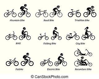 riders., bicycles, type
