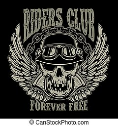 Riders club. Vintage biker emblem with winged racer skull.