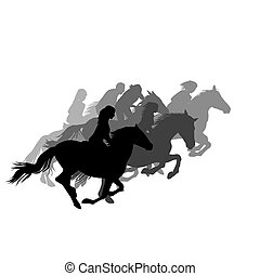 Riders on horses galloping on the horse racing