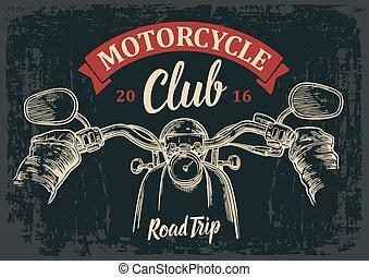 rides., biker, conducción, camino, trip., motocicleta