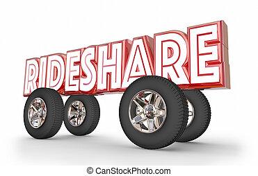 Rideshare Car Vehicle Transportation Sharing Rides 3d...