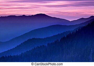 Ridge layers - Distant view from Hurricane Ridge, Olympic...