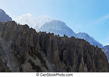 ridge of rocks high in the mountains