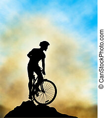 Ridge rider - Editable vector illustration of a mountain...