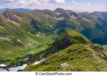 ridge with grassy slopes and cliffs. Southern Carpathian...