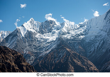 Ridges and Valley of Snow Covered Mountains