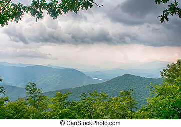 ridges of theSmokey Mountains extending across the valley on the