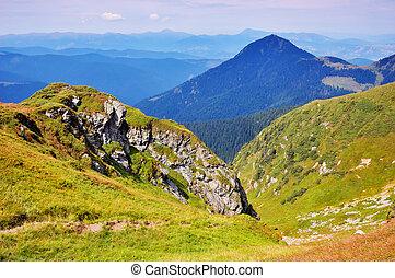 Ridges - Sunny day in the mountains. Carpathians, Ukraine
