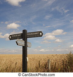 Ridgeway Path Sign - Wooden sign at crossroads of Ridgeway ...