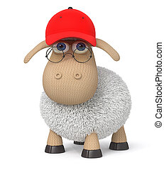 ridiculous 3d lamb in a baseball cap - The herbivorous and...
