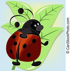 Ridiculous ladybug on a leaflet