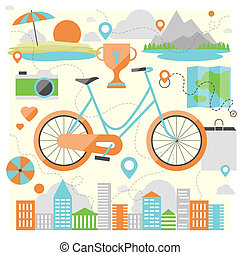 Riding a bike flat illustration