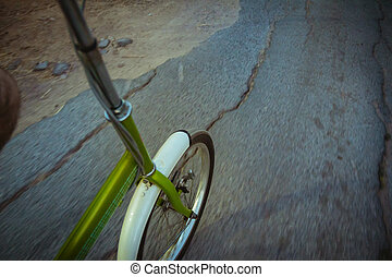 Riding a bike on the road