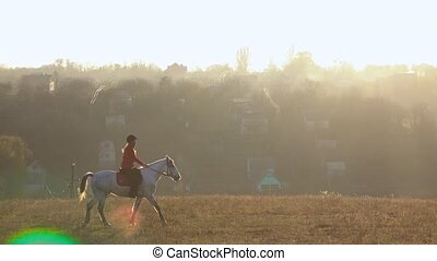 Riding a horse across a field around a residential sector...