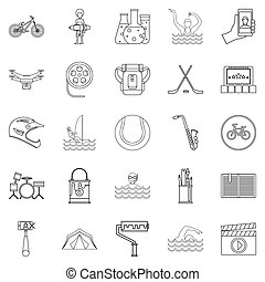 Riding a motorcycle icons set, outline style