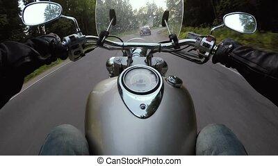 Riding a motorcycle POV video