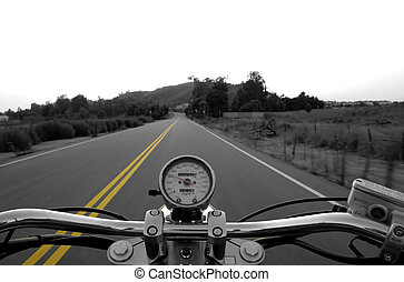 Riding a straight r - Motorcycle moving on a straight road ...