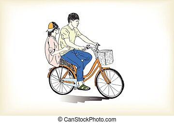 riding bicycle boy an girl free hand drawing, vector and illustration