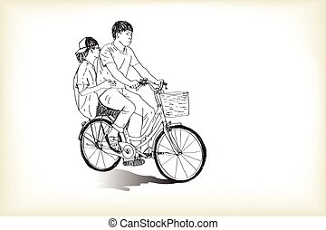 riding bicycle touring boy an girl, free hand drawing, vector and illustration