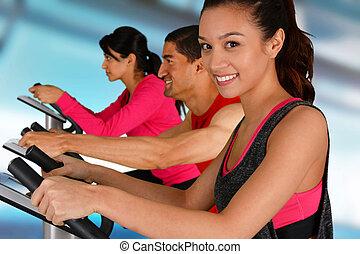 Riding Bikes In Gym