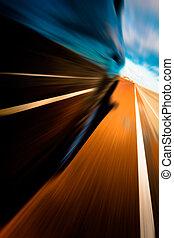 Riding by car. Motion blur