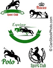 Riding club, horse racing and polo game design - Equestrian...
