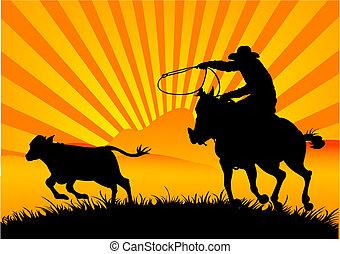 Riding cowboy - A vector silhouette of a cowboy roping a ...