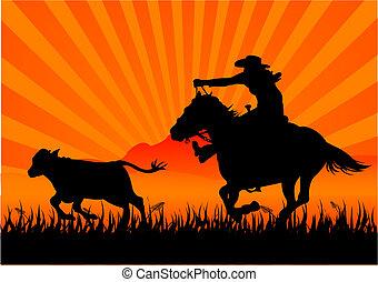 A vector silhouette of a cowboy roping a calf