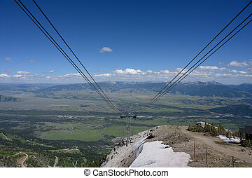 Riding Down Gondola into Jackson Hole, Wyoming